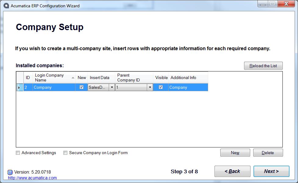 Acumatica Configuration Wizard - Demo Data
