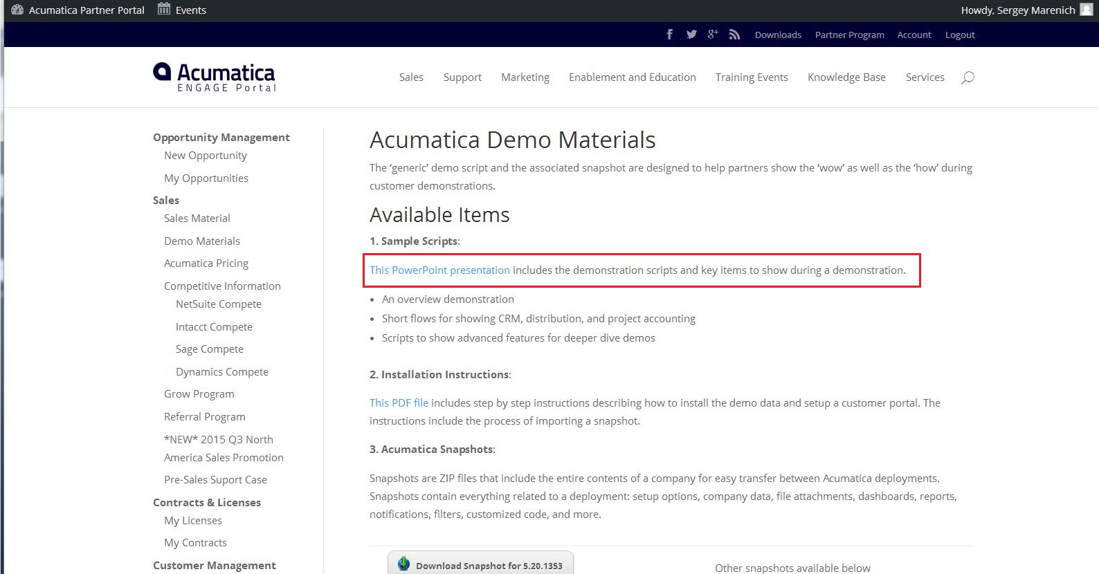 Acumatica Partner Portal - Demonstration Scripts