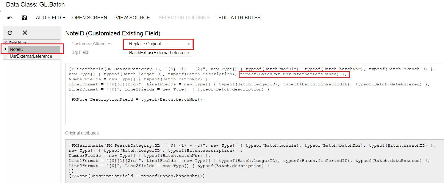 Acumatica PXSearchable Attribute Modifications