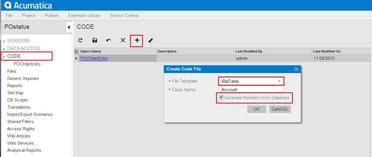 Acumatica Browser DAC Generator
