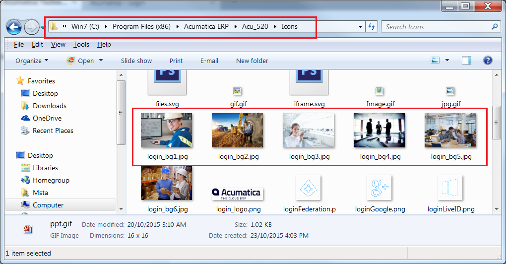 Acumatica Pictures for Login Page