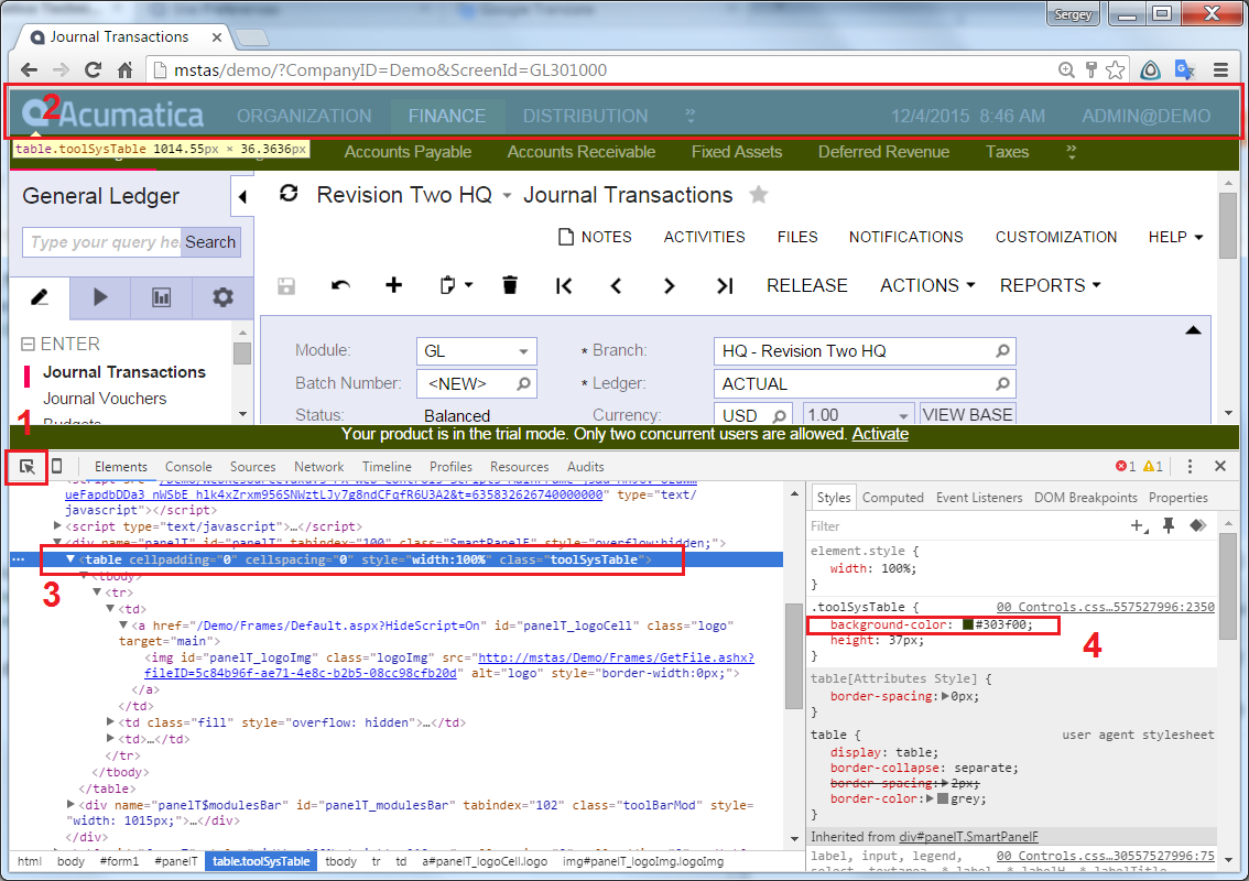 Browser Debugger Tools to get Acumatica Colors