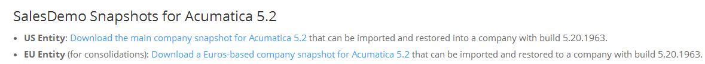 Acumatica Consolidation Demo Snapshot