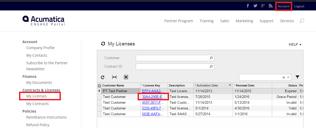 Acumatica License Management on Portal
