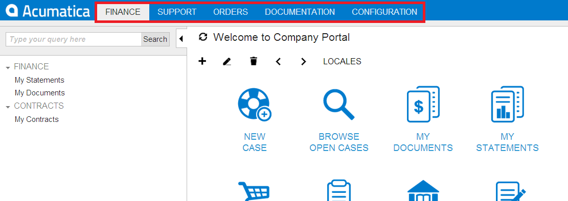 Acumatica Portal User Interface