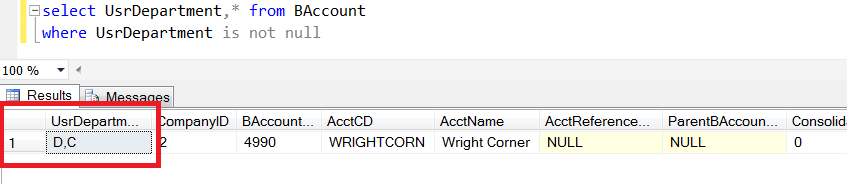 Acumatica Custom Field Database Column