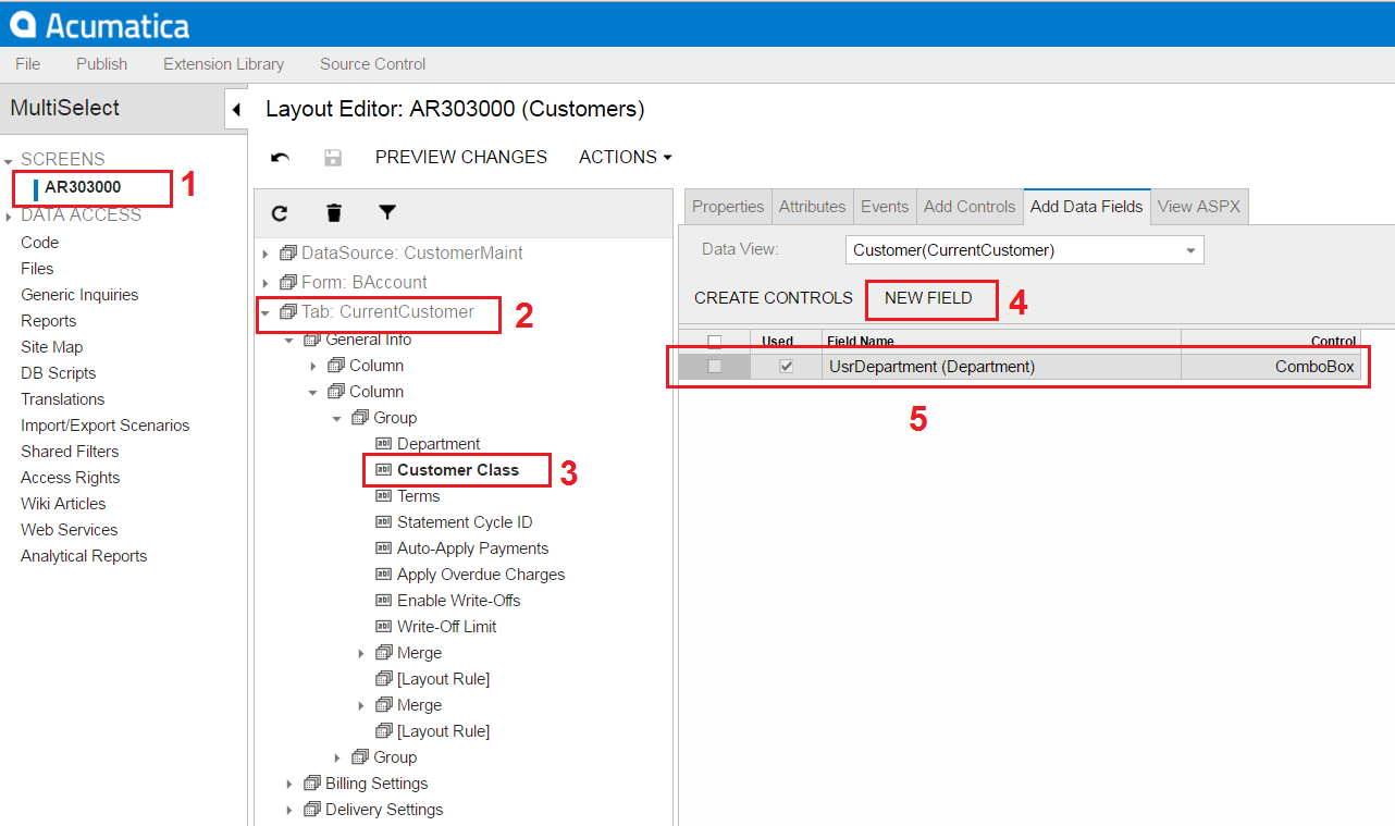 Acumatica Add Custom Field