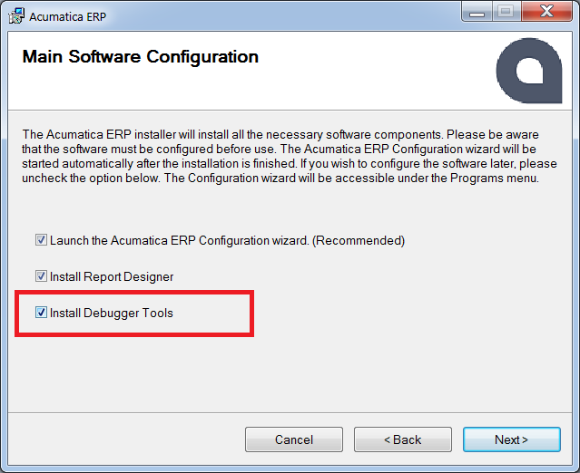 install Acumatica with debugger tools