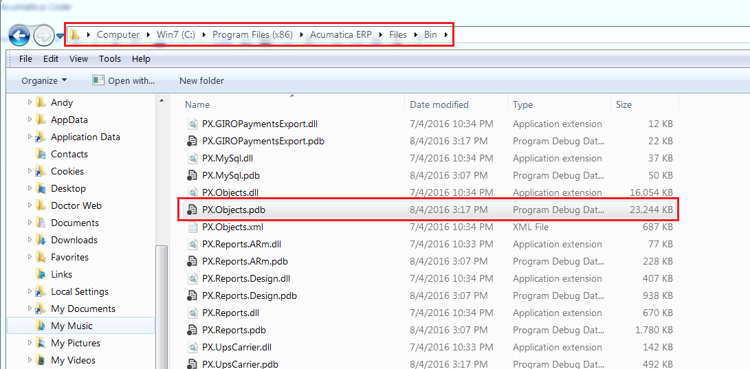 Acumatica with debugger tools: