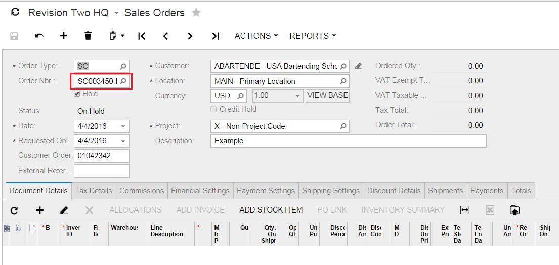 Acumatica Sales Order Number Width