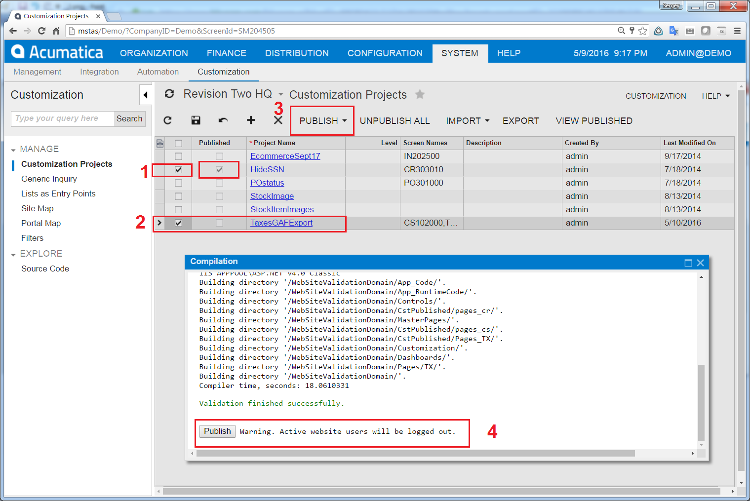 install customization in Acumatica