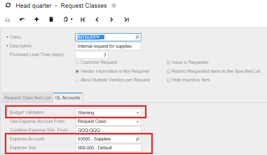 request classes acumatica