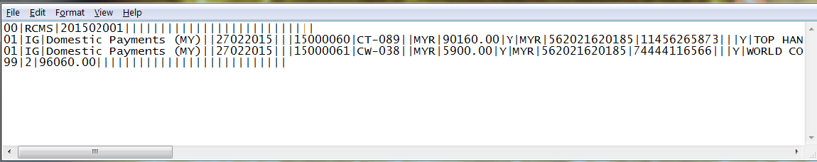 actual payment file result acumatica