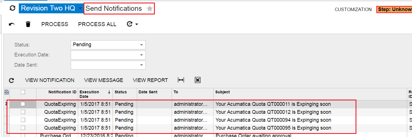 disable notification scheduler acumatica