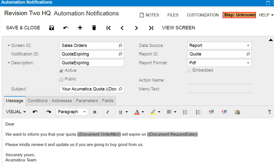 Automation Notification acumatica