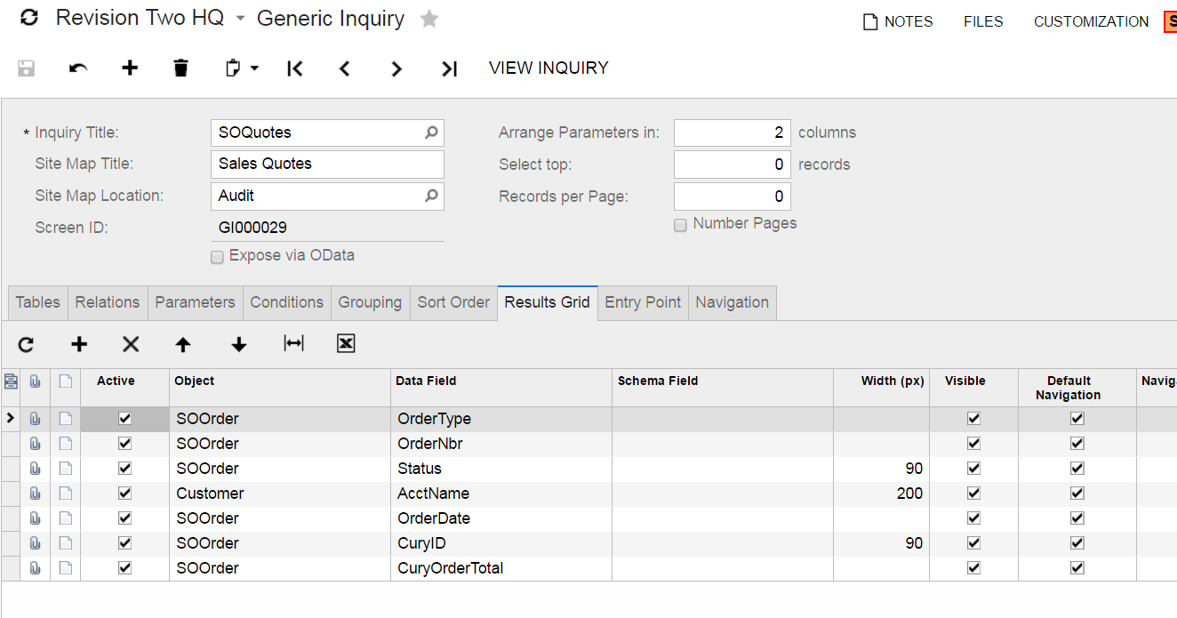create a Generic Inquiry acumatica