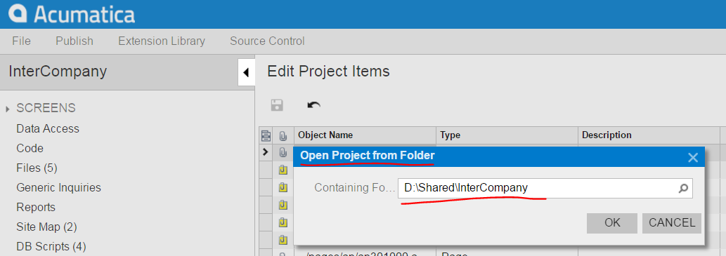 Open project from Folder menu acumatica