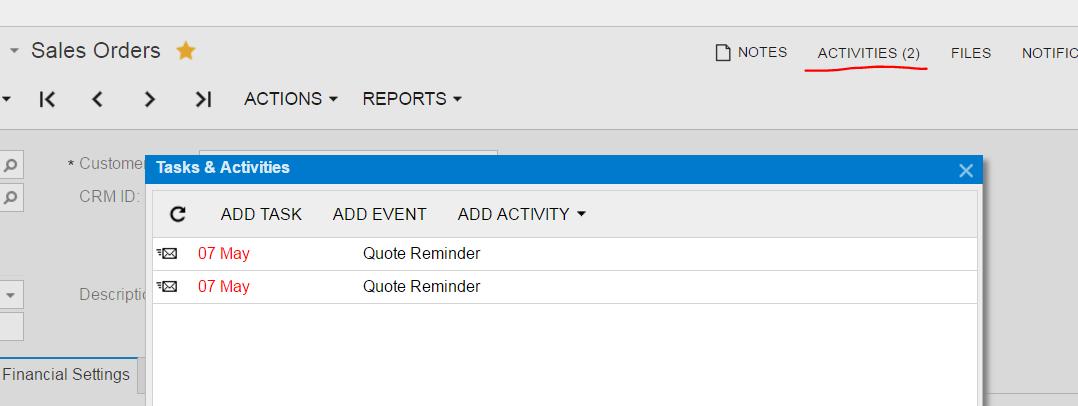 notification template acumatica