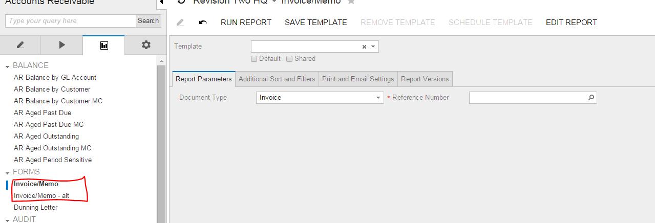 create 2 reports acumatica