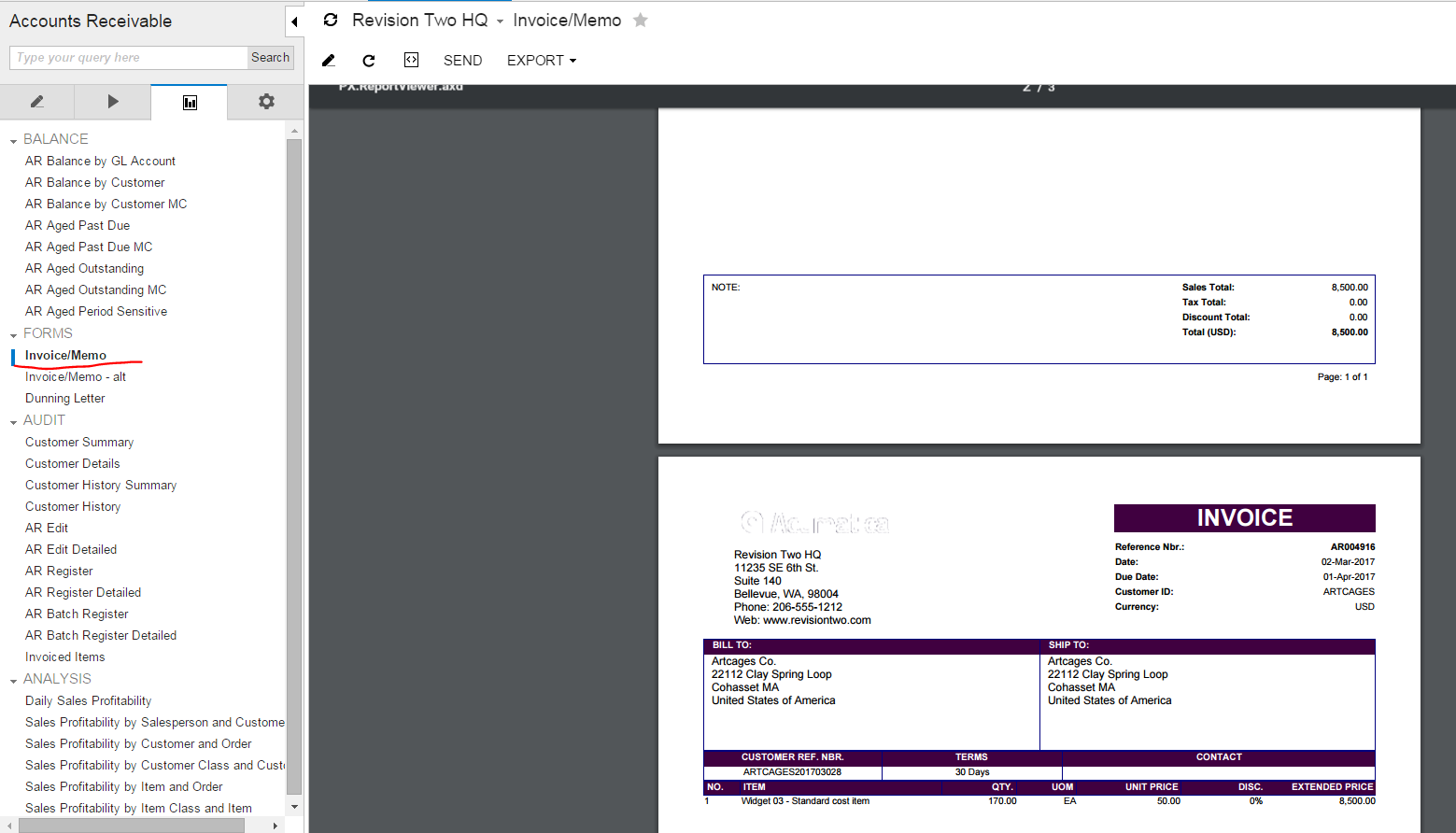 save report to Acumatica