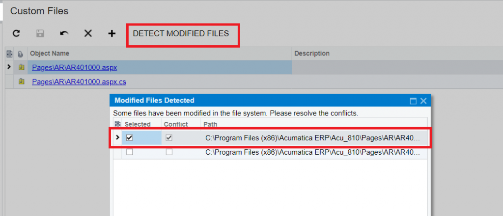 Acumatica Detect Modified Files