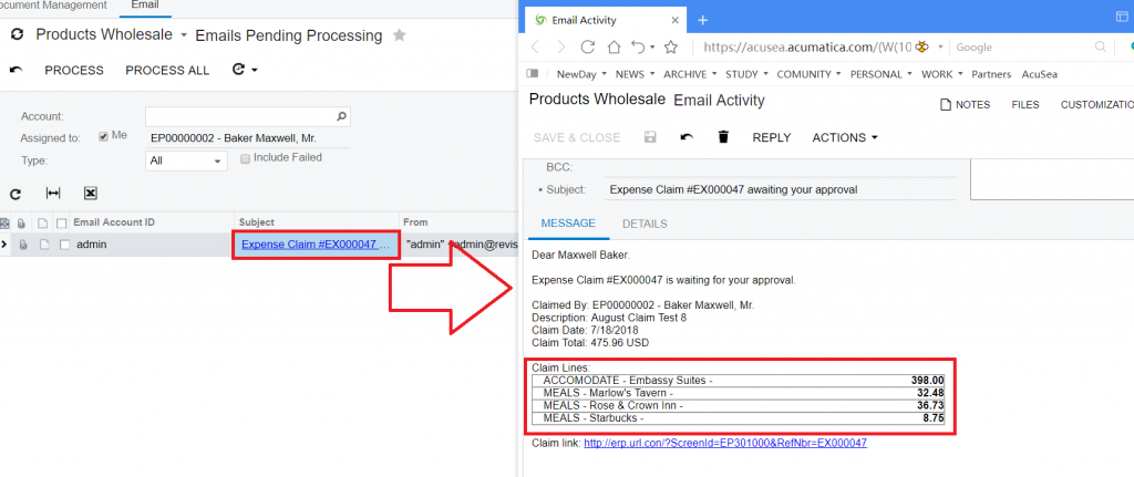 Acumatica Expense Claim Email