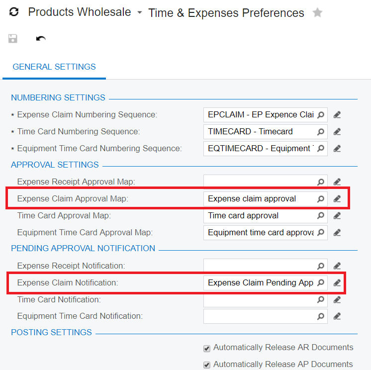 Acumatica Expense Claims Approval Notification