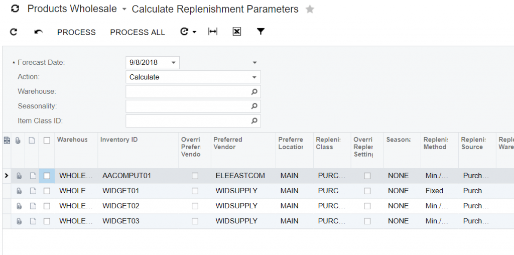 Acumatica Calculate Replenishment Parameters