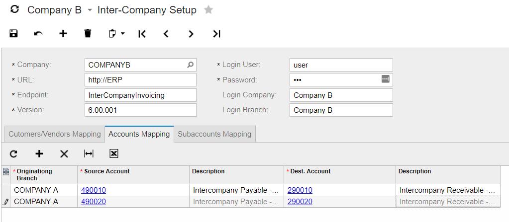 Inter-Company Accounts Mapping