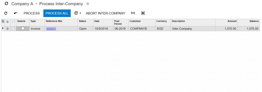 Acumatica Inter-Company Process