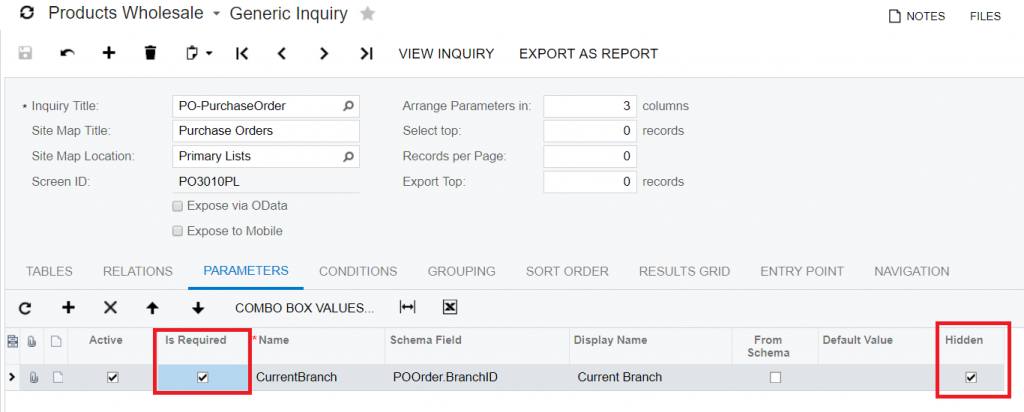 Generic Inquiries Parameters