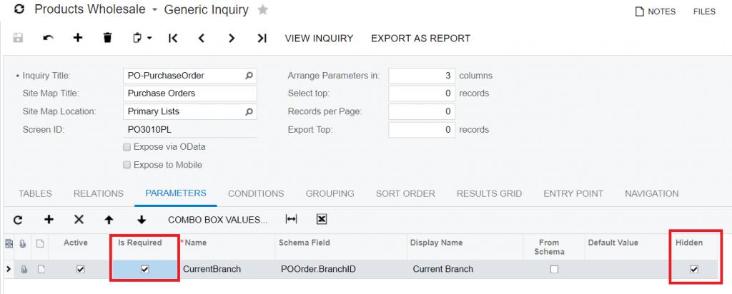 Generic Inquiries Parameters