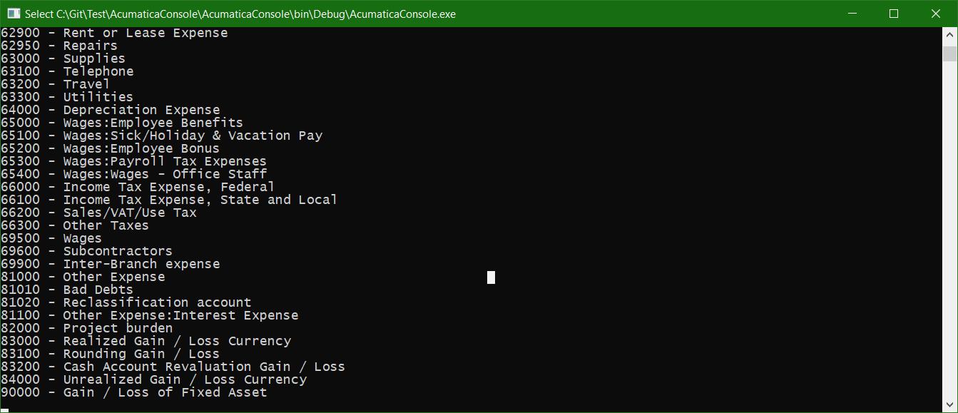Acumatica Console App