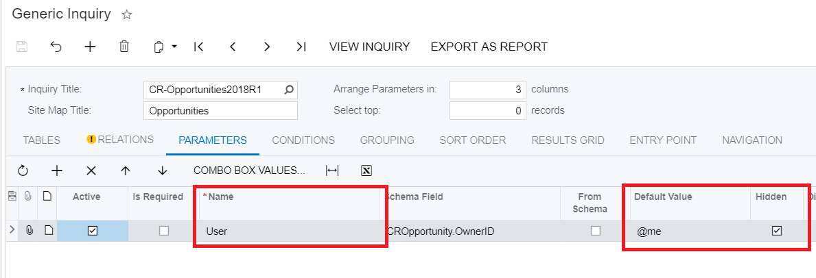 Entity Workgroups Generic Inquiries Parameters