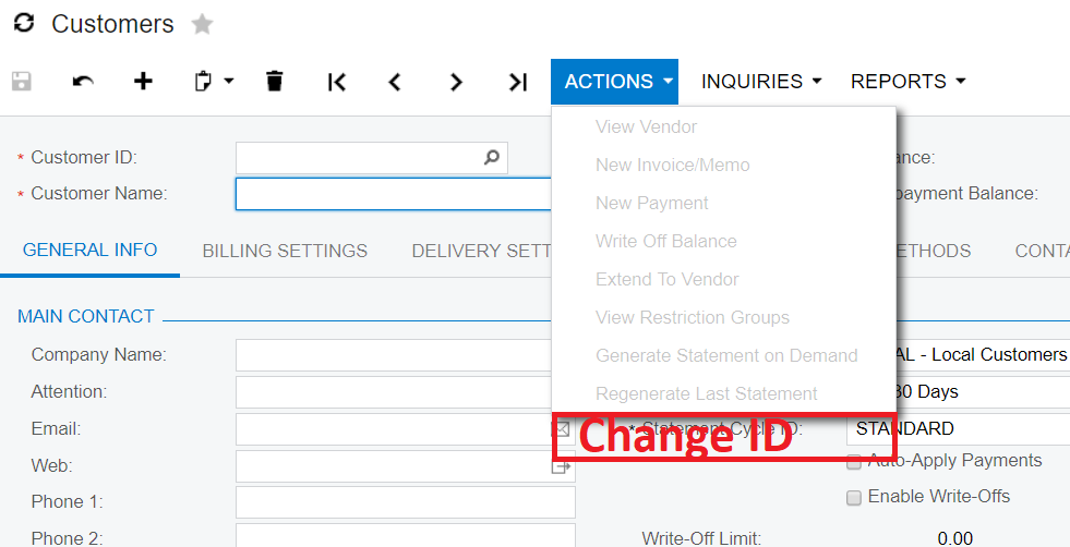 Acumatica Change ID